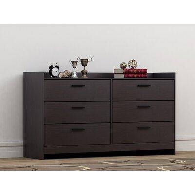 Central Park 6 Drawer Dresser Color: Black Brown