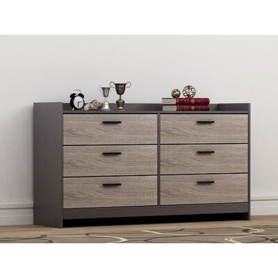 Central Park 6 Drawer Dresser Color: Java Brown/Sonoma