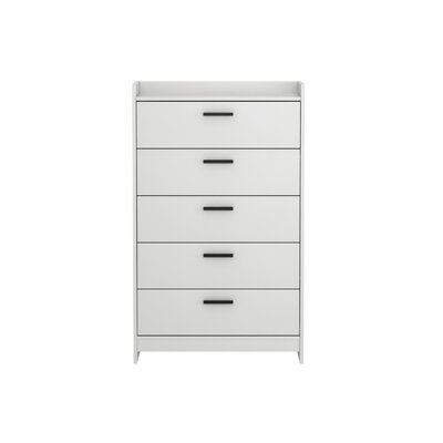 Central Park 5 Drawer Chest Color: Frost White
