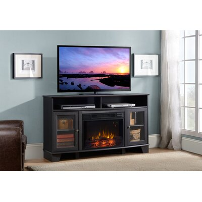 Wilson Media Electric Fireplace TV Stand Finish: Black