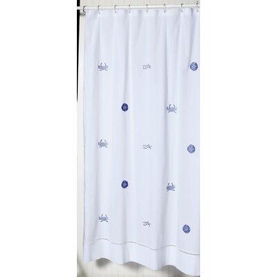 Cantillo 100% Cotton Shower Curtain Color: White/Blue