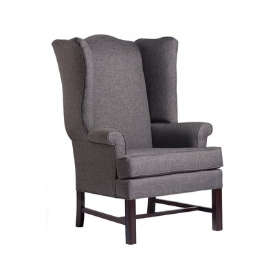 Walsh Chippendale Wingback Chair Upholstery: Gray