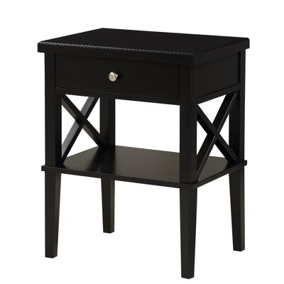 Silvestri 1 Drawer Nightstand Finish: Black