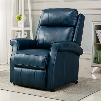 Lehman Leather Power Lift Assist Recliner Upholstery Color: Navy Blue