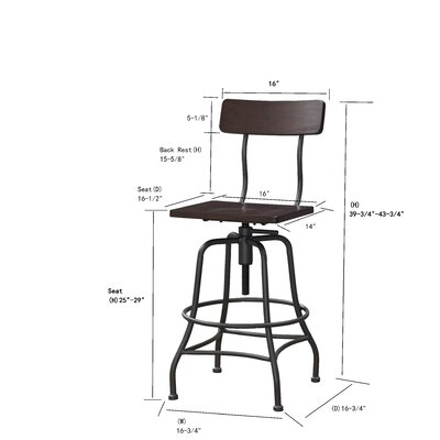 Kitt Adjustable Height Swivel Bar Stool