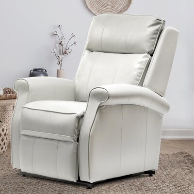 Lehman Leather Power Lift Assist Recliner Upholstery Color: Ivory