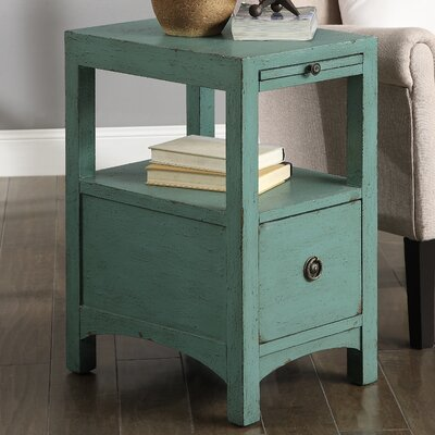 Hayman End Table With Storage Color: Waves Texture Blue