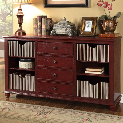 Carolina Preserves 4 Drawer Console Table Finish: Buxton Texture Red and Ivory