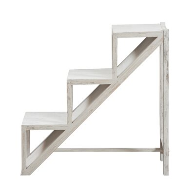 Mauro Stair Step Side End Table Color: White
