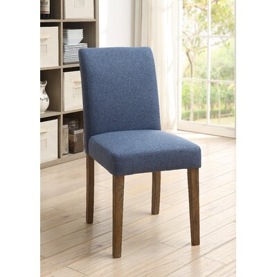 Shawnda Accent Side Chair Upholstery Color: Blue, Leg Color: Light Brown