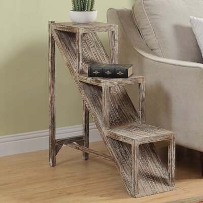 Scarlette Stair Step Side End Table Color: White