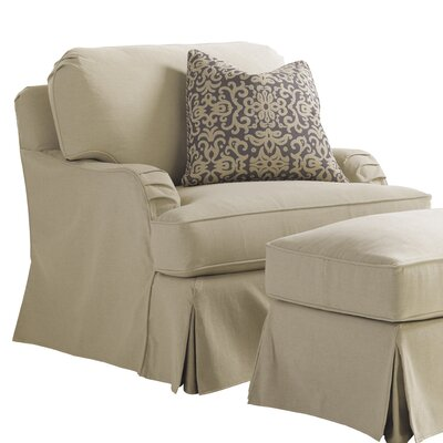 Coventry Hills Stowe Slipcover Armchair and Ottoman Color: Khaki