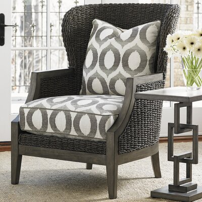 Oyster Bay Seaford Wingback Chair Upholstery: Gray and Ivory Geometric
