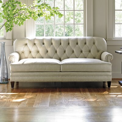 Oyster Bay Hillstead Leather Sofa Upholstery: Ivory