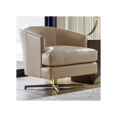 Zavala Graves Leather Swivel Barrel Chair Finish: Brass