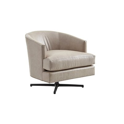 Zavala Graves Leather Swivel Barrel Chair Finish: Charcoal