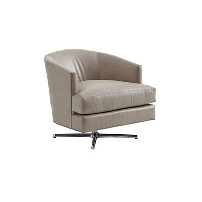 Zavala Graves Leather Swivel Barrel Chair Finish: Polished Chrome