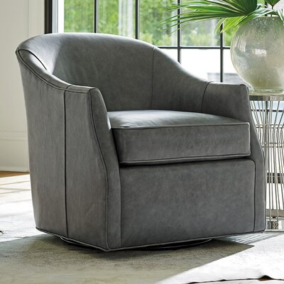 Ariana Escala Leather Swivel Barrel Chair