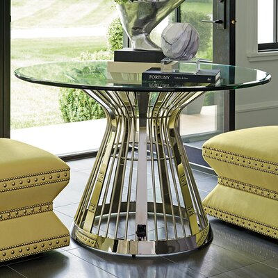 Ariana Riviera Glass Top Dining Table Size: 30 H x 48 W x 48 D