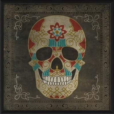 Sugar Skull Framed Graphic Art in Blue and Red 91324