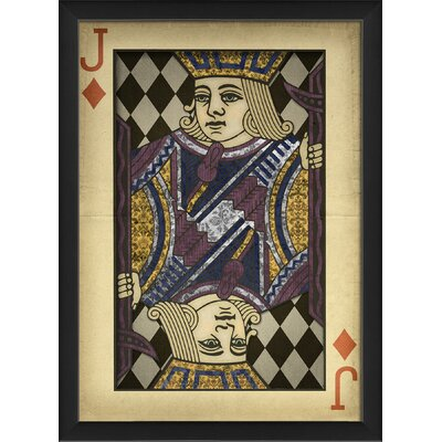 Jack of Diamonds Harlequin Playing Card Framed Graphic Art 19462