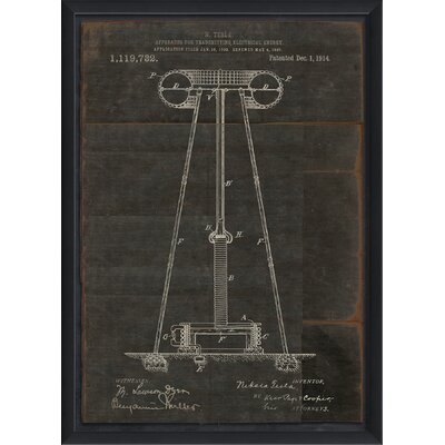 'Tesla Transmitting Electrical Energy Patent' Framed Graphic Art Print WLFR6313 44550522