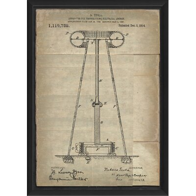 'Tesla Transmitting Electrical Energy Patent' Framed Graphic Art Print WLFR6313 44550523