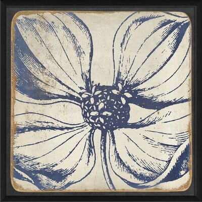 The Artwork Factory Vintage Flower Framed Painting Print in Blue 17008