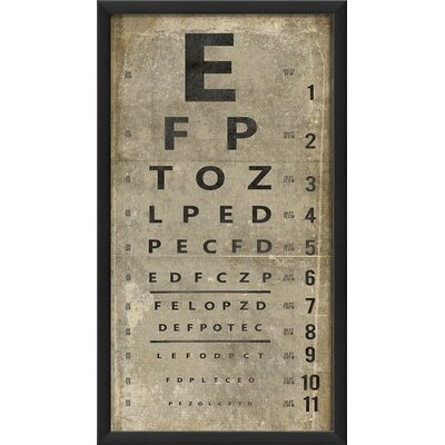 Eye Chart Framed Textual Art Color: White