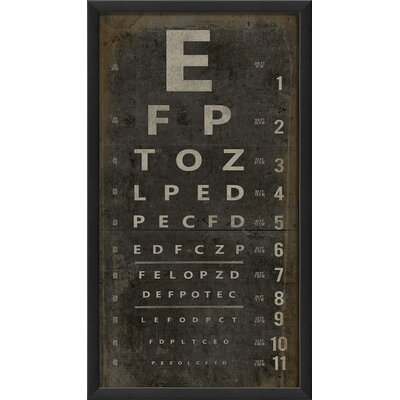 Eye Chart Framed Textual Art Color: Black
