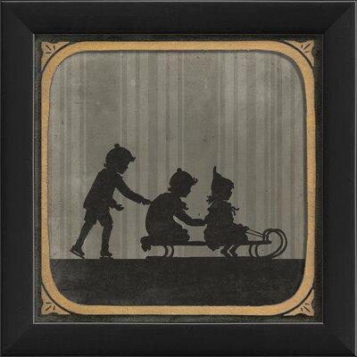 Children Sledding Framed Graphic Art 18529 EB