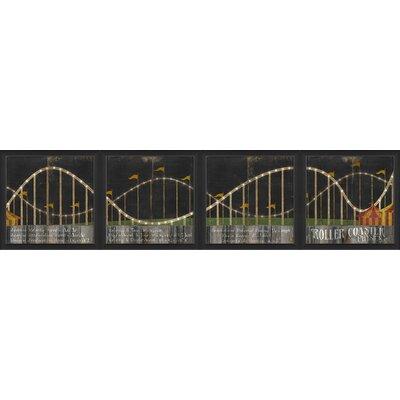 Roller Coaster 4 Piece Framed Graphic Art Set 18885