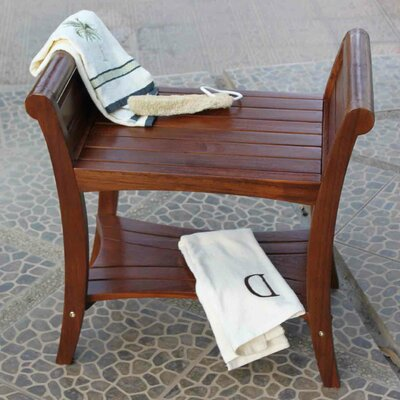 Decoteak Teak Grate Outdoor Bench Storage Shelf End Table or ...
