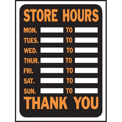 Store Hours Sign (Set of 10)