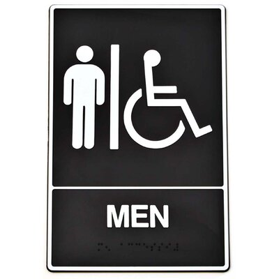 Braille Men Handicap Access Sign (Set of 3)