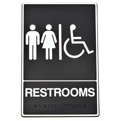 Braille Restroom Handicap Access Sign (Set of 3)