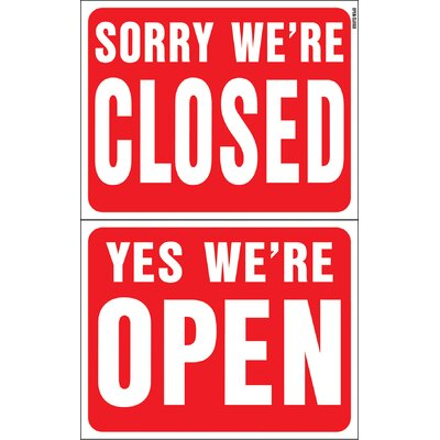 15 x 19 Plastic Reversible Open Closed Sign (Set of 5)