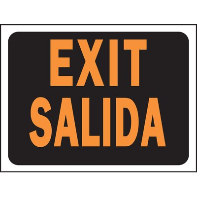 9 x 12 Plastic Bilingual Exit Sign (Set of 10)
