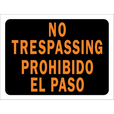 9 x 12 Plastic Bilingual No Trespassing Sign (Set of 10)