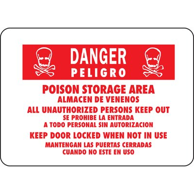 10 x 14 Aluminum Bilingual Danger Poison Sign (Set of 12)