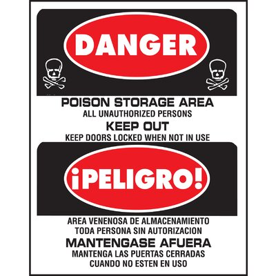 15 x 19 Plastic Bilingual Danger Sign (Set of 5)