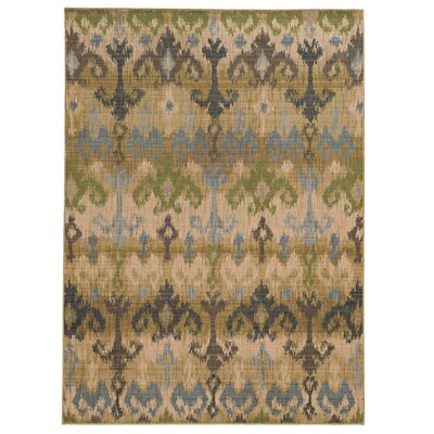 Vintage Abstract Beige/Blue Area Rug Rug Size: 67 x 96