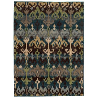 Vintage Abstract Blue/Beige Area Rug Rug Size: 53 x 76