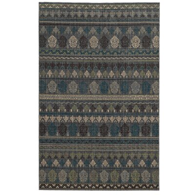 Tommy Bahama Vintage Blue Geometric Rug Rug Size: 310 x 55