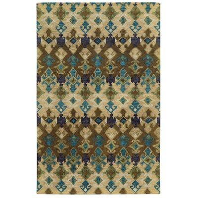 Tommy Bahama Jamison Beige / Blue Geometric Rug Rug Size: 36 x 56