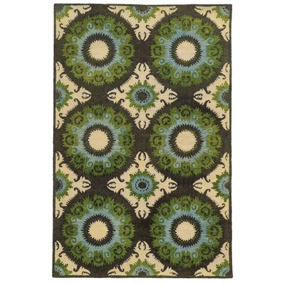 Tommy Bahama Jamison Black / Green Abstract Rug Rug Size: 36 x 56