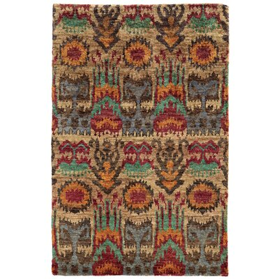Ansley Abstract Hand-Knotted Beige/Rust/Brown Area Rug Rug Size: 36 x 56