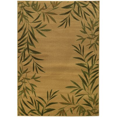 Villa Tan/Green Area Rug Rug Size: 67 x 96