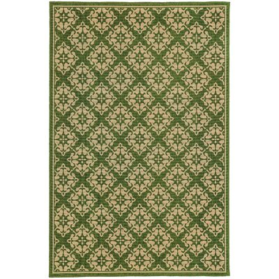 Seaside Green/Beige Indoor/Outdoor Area Rug Rug Size: 37 x 56