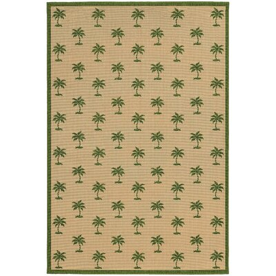 Seaside Beige & Green Indoor/Outdoor Area Rug Rug Size: Round 710